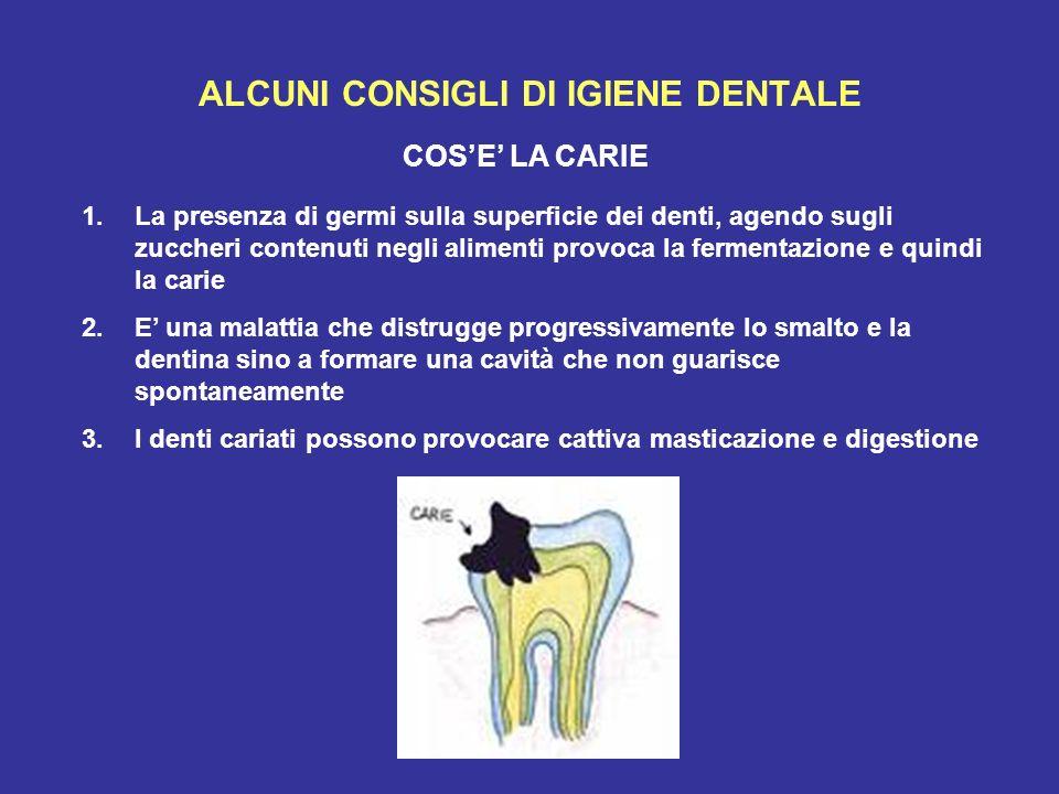 ALCUNI CONSIGLI DI IGIENE DENTALE COSE LA CARIE 1.La presenza di germi sulla superficie dei denti, agendo sugli zuccheri contenuti negli alimenti prov