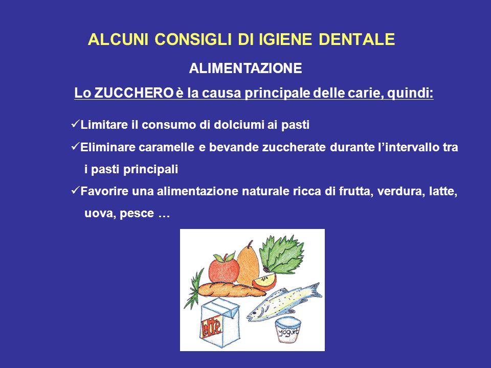 ALCUNI CONSIGLI DI IGIENE DENTALE ALIMENTAZIONE Lo ZUCCHERO è la causa principale delle carie, quindi: Limitare il consumo di dolciumi ai pasti Elimin