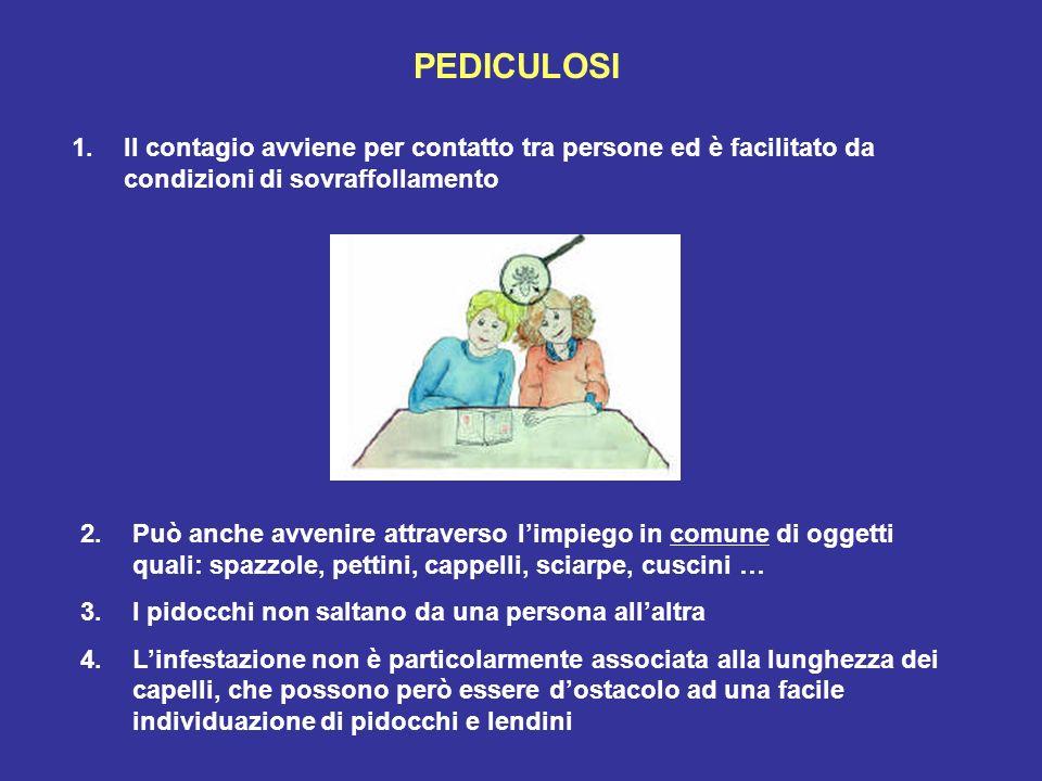 PEDICULOSI 1.Il contagio avviene per contatto tra persone ed è facilitato da condizioni di sovraffollamento 2.Può anche avvenire attraverso limpiego i