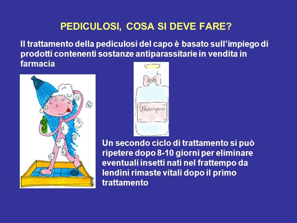 PEDICULOSI, COSA SI DEVE FARE? Il trattamento della pediculosi del capo è basato sullimpiego di prodotti contenenti sostanze antiparassitarie in vendi
