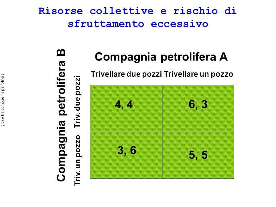 Risorse collettive e rischio di sfruttamento eccessivo Compagnia petrolifera A Trivellare due pozziTrivellare un pozzo Compagnia petrolifera B Triv.