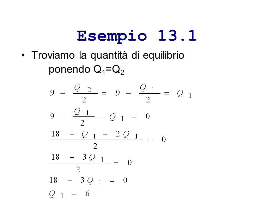 Esempio 13.1 Troviamo la quantità di equilibrio ponendo Q 1 =Q 2