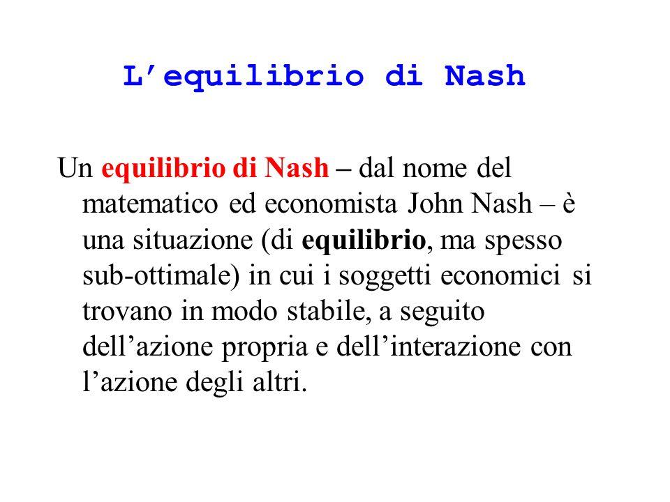 Lequilibrio di Nash Un equilibrio di Nash – dal nome del matematico ed economista John Nash – è una situazione (di equilibrio, ma spesso sub-ottimale) in cui i soggetti economici si trovano in modo stabile, a seguito dellazione propria e dellinterazione con lazione degli altri.