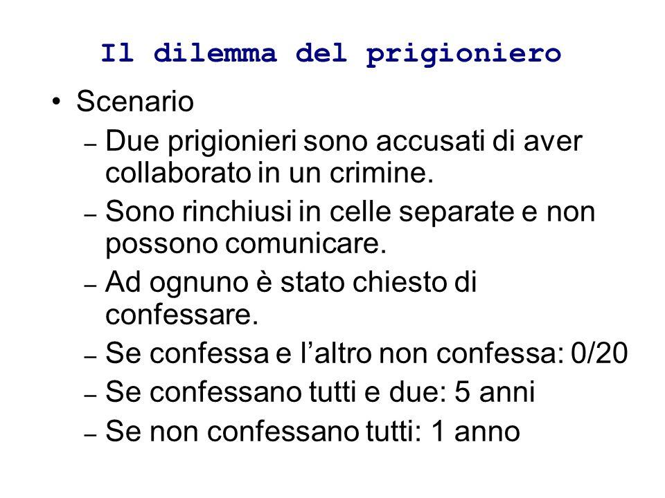 5, 50, 20 1, 120, 0 Matrice dei payoff Prigioniero A ConfessareNon confessare Confessar e Non confessare Prigioniero B Scegliereste di confessare?