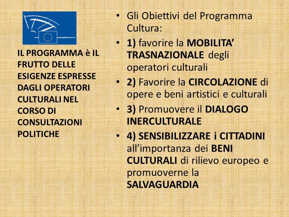 Gli Obiettivi del Programma Cultura: 1) favorire la MOBILITA TRASNAZIONALE degli operatori culturali 2) Favorire la CIRCOLAZIONE di opere e beni artis
