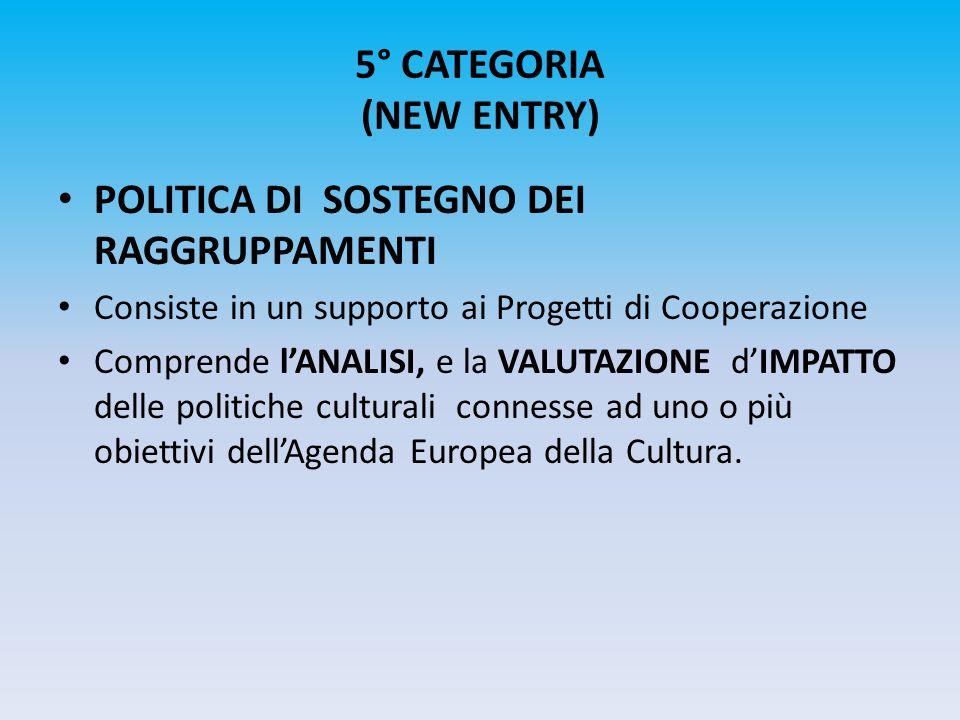 5° CATEGORIA (NEW ENTRY) POLITICA DI SOSTEGNO DEI RAGGRUPPAMENTI Consiste in un supporto ai Progetti di Cooperazione Comprende lANALISI, e la VALUTAZI