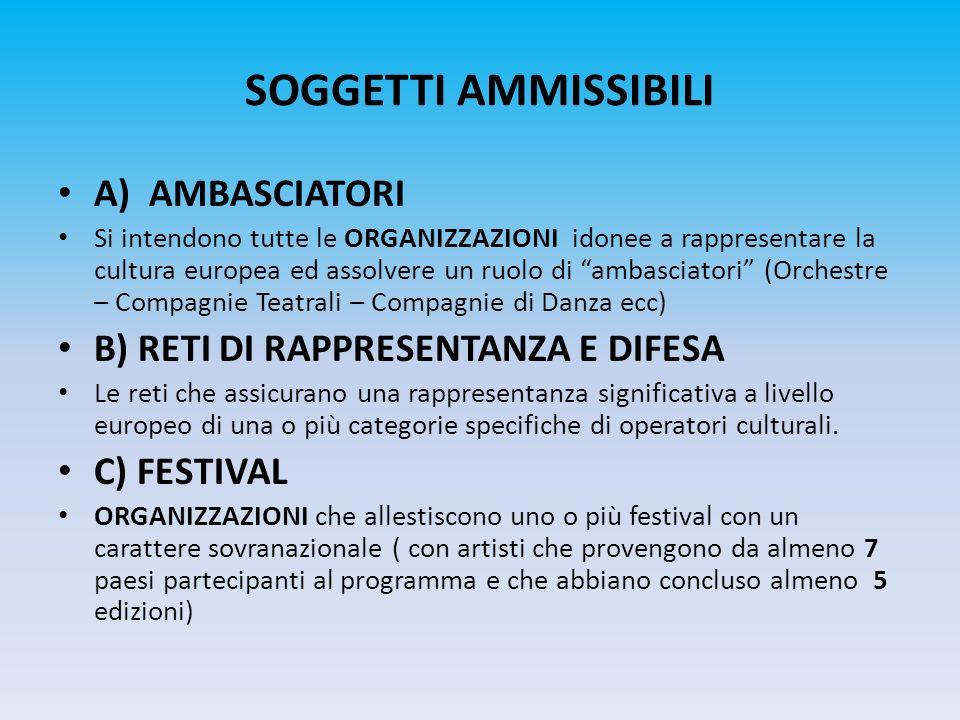 SOGGETTI AMMISSIBILI A) AMBASCIATORI Si intendono tutte le ORGANIZZAZIONI idonee a rappresentare la cultura europea ed assolvere un ruolo di ambasciat