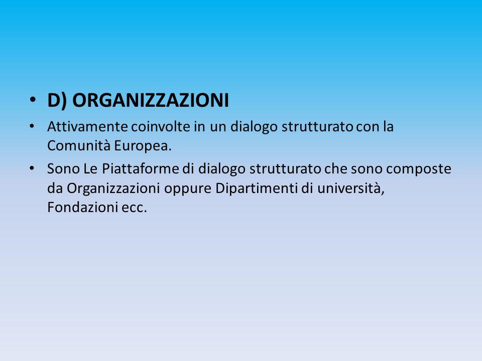 D) ORGANIZZAZIONI Attivamente coinvolte in un dialogo strutturato con la Comunità Europea. Sono Le Piattaforme di dialogo strutturato che sono compost