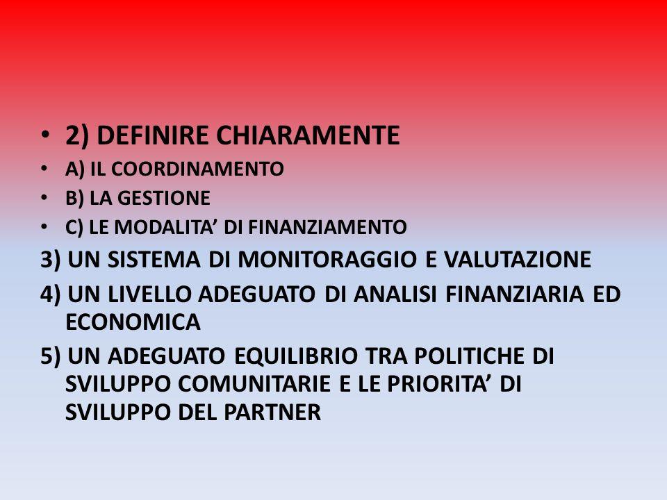2) DEFINIRE CHIARAMENTE A) IL COORDINAMENTO B) LA GESTIONE C) LE MODALITA DI FINANZIAMENTO 3) UN SISTEMA DI MONITORAGGIO E VALUTAZIONE 4) UN LIVELLO A