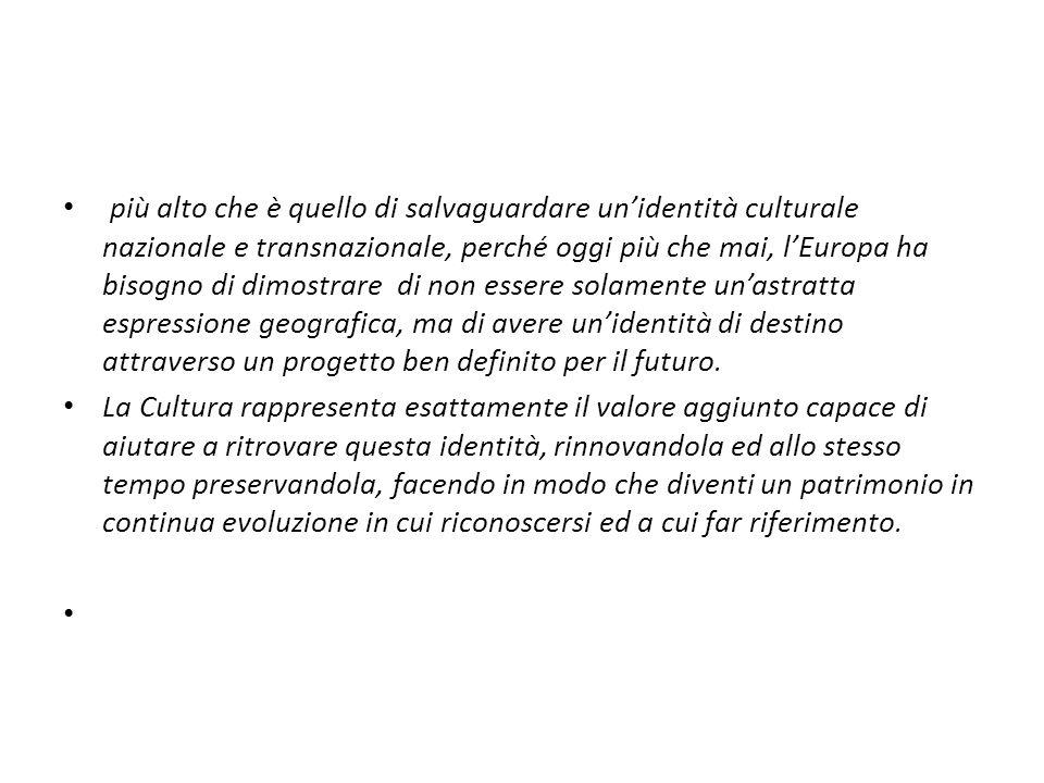 INFORMAZIONI UTILI STUDIES (Economy of Culture in Europe) : http://ec.europa.eu/culture/key-documents/doc873_en.htm CULTURE and EDUCATION: http://ec.europa.eu/culture/key-documents/doc898_en.htm STATISTICS (Pocketbook on Cultural Statistics): http://ec.europa.eu/culture/key-documents/doc975_en.htm PARTNERSHIP (Programma Cultura) http://culture.teamwork.fr/partner_search/partner_search.p hp http://culture.teamwork.fr/partner_search/partner_search.p hp MEDIA http://ec.europa.eu/information_society/media/index_en.ht m http://ec.europa.eu/information_society/media/index_en.ht m