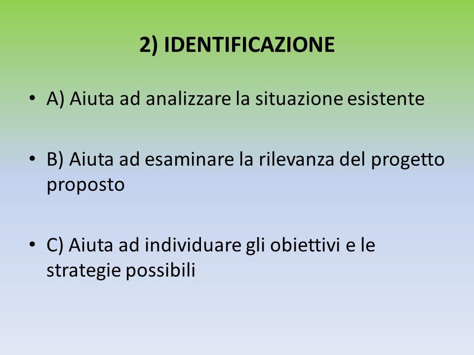 2) IDENTIFICAZIONE A) Aiuta ad analizzare la situazione esistente B) Aiuta ad esaminare la rilevanza del progetto proposto C) Aiuta ad individuare gli