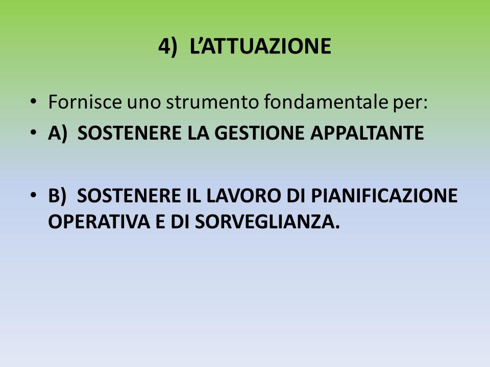 4) LATTUAZIONE Fornisce uno strumento fondamentale per: A) SOSTENERE LA GESTIONE APPALTANTE B) SOSTENERE IL LAVORO DI PIANIFICAZIONE OPERATIVA E DI SO