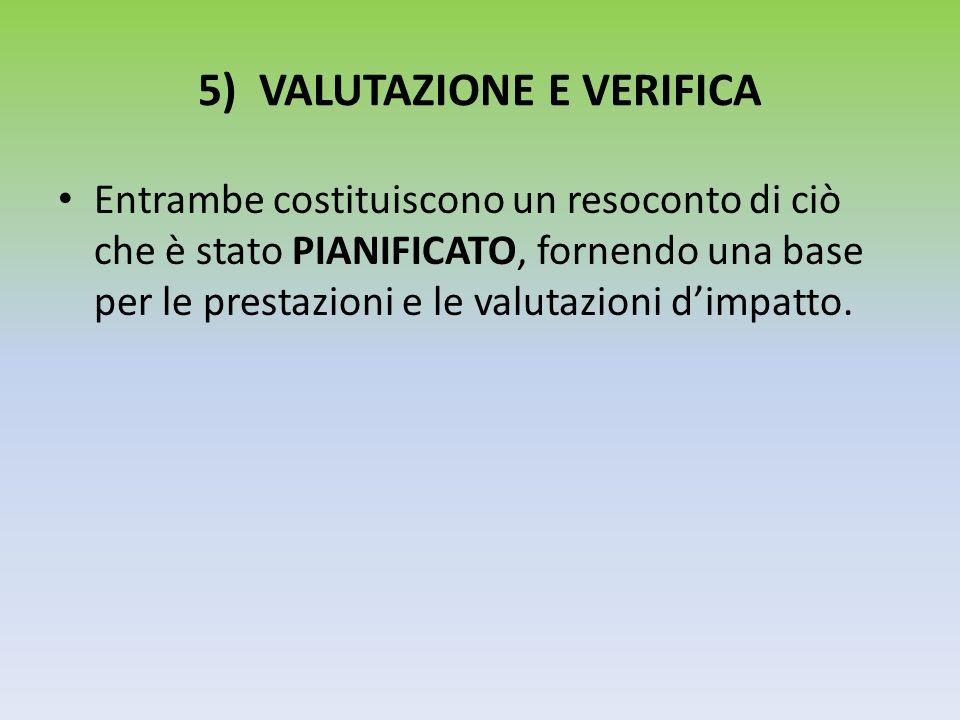 5) VALUTAZIONE E VERIFICA Entrambe costituiscono un resoconto di ciò che è stato PIANIFICATO, fornendo una base per le prestazioni e le valutazioni di