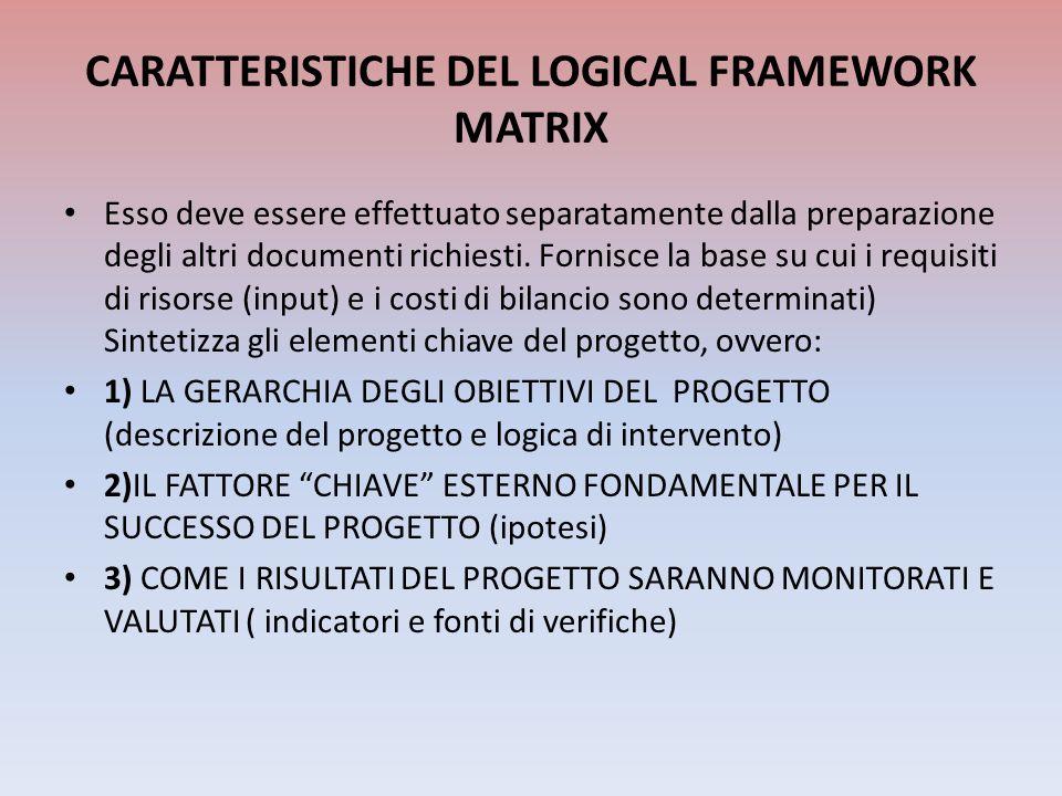 CARATTERISTICHE DEL LOGICAL FRAMEWORK MATRIX Esso deve essere effettuato separatamente dalla preparazione degli altri documenti richiesti. Fornisce la
