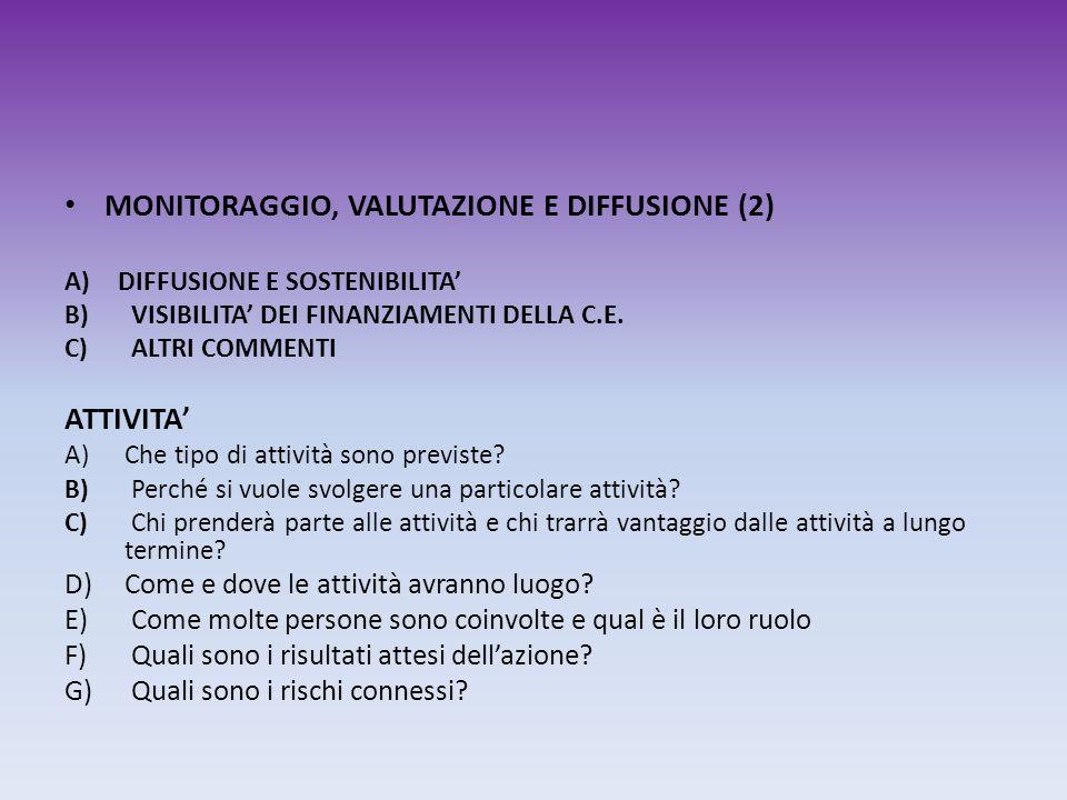 MONITORAGGIO, VALUTAZIONE E DIFFUSIONE (2) A)DIFFUSIONE E SOSTENIBILITA B) VISIBILITA DEI FINANZIAMENTI DELLA C.E. C) ALTRI COMMENTI ATTIVITA A)Che ti