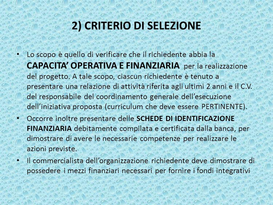 2) CRITERIO DI SELEZIONE Lo scopo è quello di verificare che il richiedente abbia la CAPACITA OPERATIVA E FINANZIARIA per la realizzazione del progett