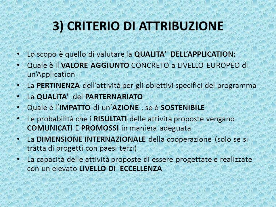 3) CRITERIO DI ATTRIBUZIONE Lo scopo è quello di valutare la QUALITA DELLAPPLICATION: Quale è il VALORE AGGIUNTO CONCRETO a LIVELLO EUROPEO di unAppli