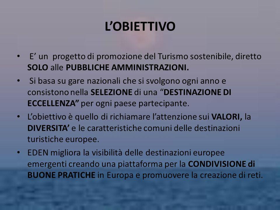 LOBIETTIVO E un progetto di promozione del Turismo sostenibile, diretto SOLO alle PUBBLICHE AMMINISTRAZIONI. Si basa su gare nazionali che si svolgono