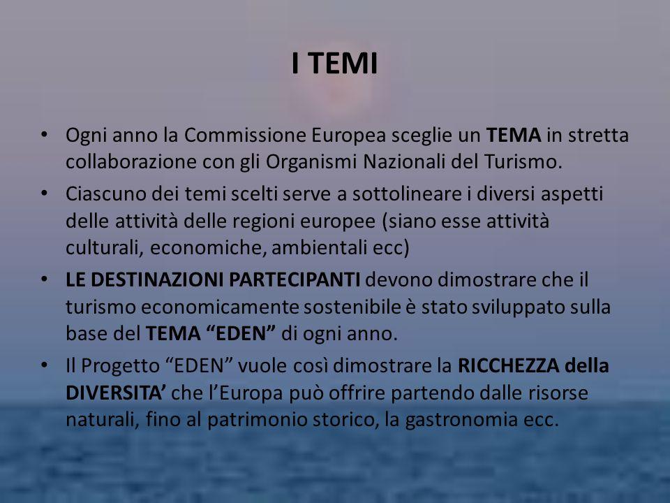 I TEMI Ogni anno la Commissione Europea sceglie un TEMA in stretta collaborazione con gli Organismi Nazionali del Turismo. Ciascuno dei temi scelti se