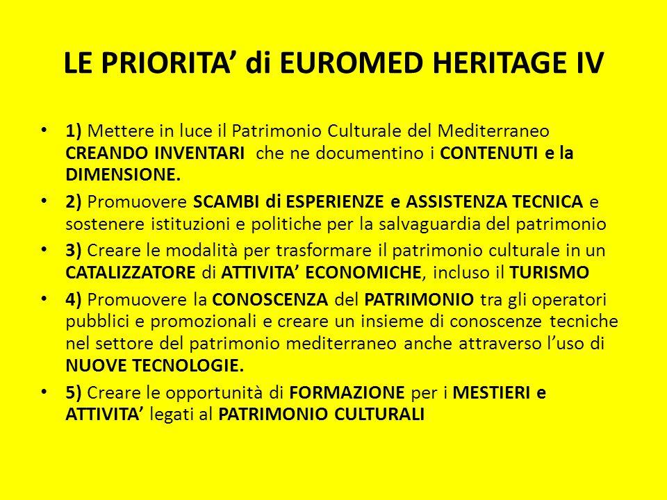 LE PRIORITA di EUROMED HERITAGE IV 1) Mettere in luce il Patrimonio Culturale del Mediterraneo CREANDO INVENTARI che ne documentino i CONTENUTI e la D