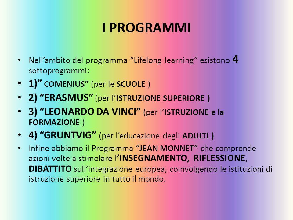 I PROGRAMMI Nellambito del programma Lifelong learning esistono 4 sottoprogrammi: 1) COMENIUS (per le SCUOLE ) 2) ERASMUS (per lISTRUZIONE SUPERIORE )