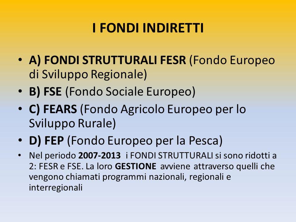 I FONDI INDIRETTI A) FONDI STRUTTURALI FESR (Fondo Europeo di Sviluppo Regionale) B) FSE (Fondo Sociale Europeo) C) FEARS (Fondo Agricolo Europeo per