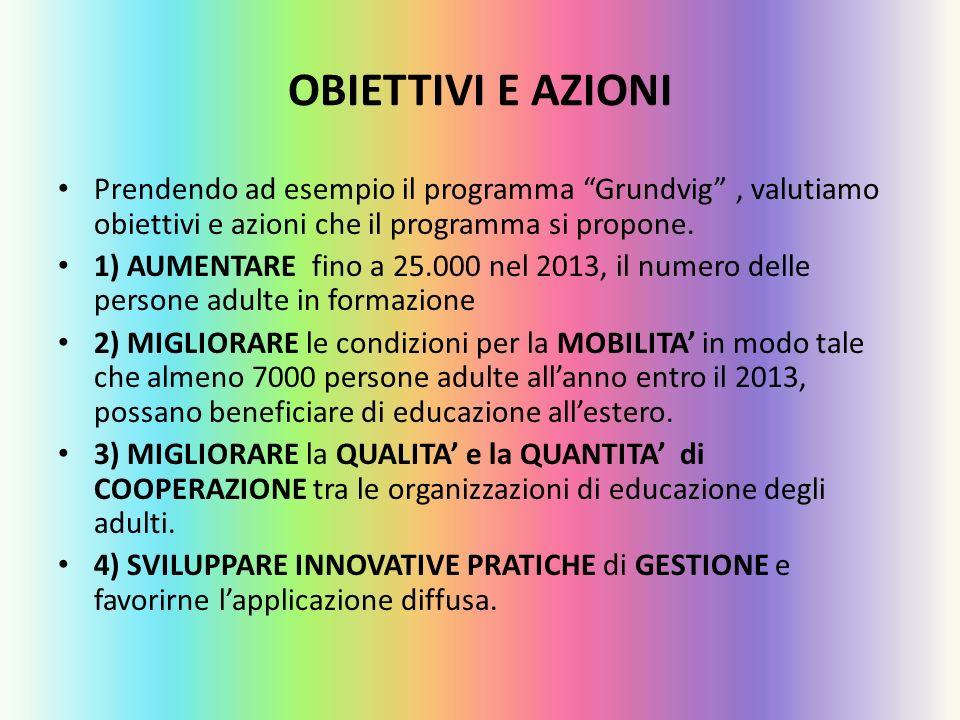 OBIETTIVI E AZIONI Prendendo ad esempio il programma Grundvig, valutiamo obiettivi e azioni che il programma si propone. 1) AUMENTARE fino a 25.000 ne