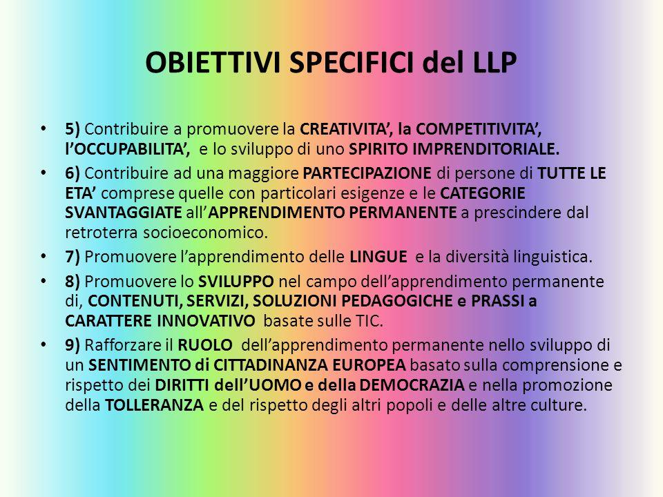 OBIETTIVI SPECIFICI del LLP 5) Contribuire a promuovere la CREATIVITA, la COMPETITIVITA, lOCCUPABILITA, e lo sviluppo di uno SPIRITO IMPRENDITORIALE.