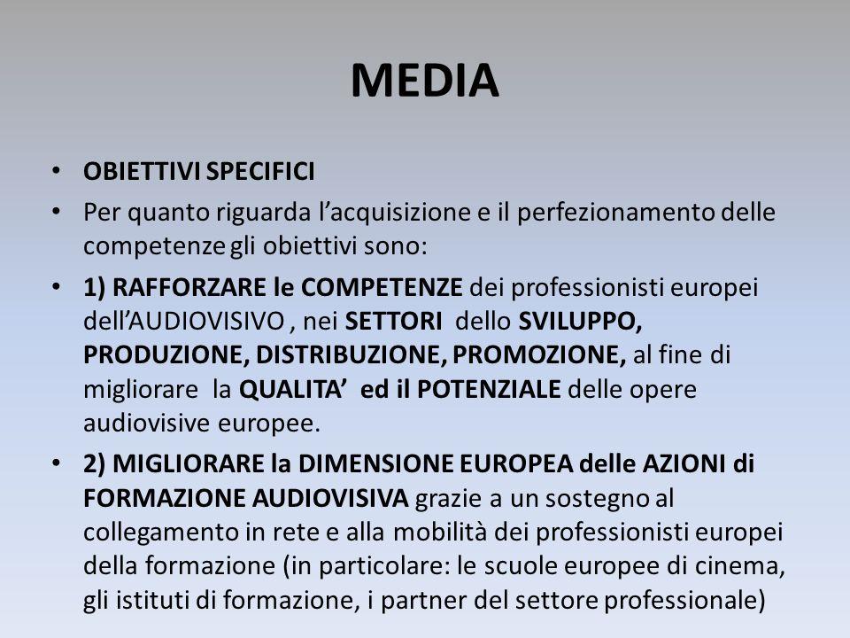 MEDIA OBIETTIVI SPECIFICI Per quanto riguarda lacquisizione e il perfezionamento delle competenze gli obiettivi sono: 1) RAFFORZARE le COMPETENZE dei