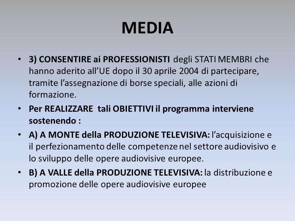 MEDIA 3) CONSENTIRE ai PROFESSIONISTI degli STATI MEMBRI che hanno aderito allUE dopo il 30 aprile 2004 di partecipare, tramite lassegnazione di borse
