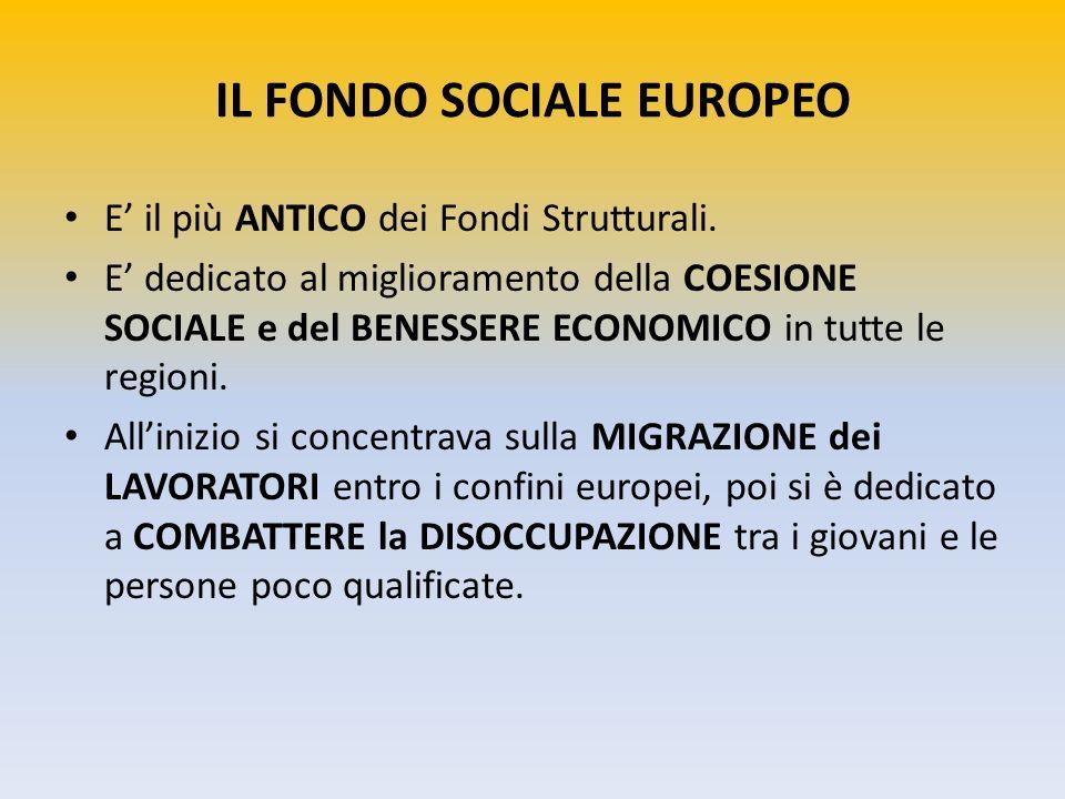IL FONDO SOCIALE EUROPEO E il più ANTICO dei Fondi Strutturali. E dedicato al miglioramento della COESIONE SOCIALE e del BENESSERE ECONOMICO in tutte