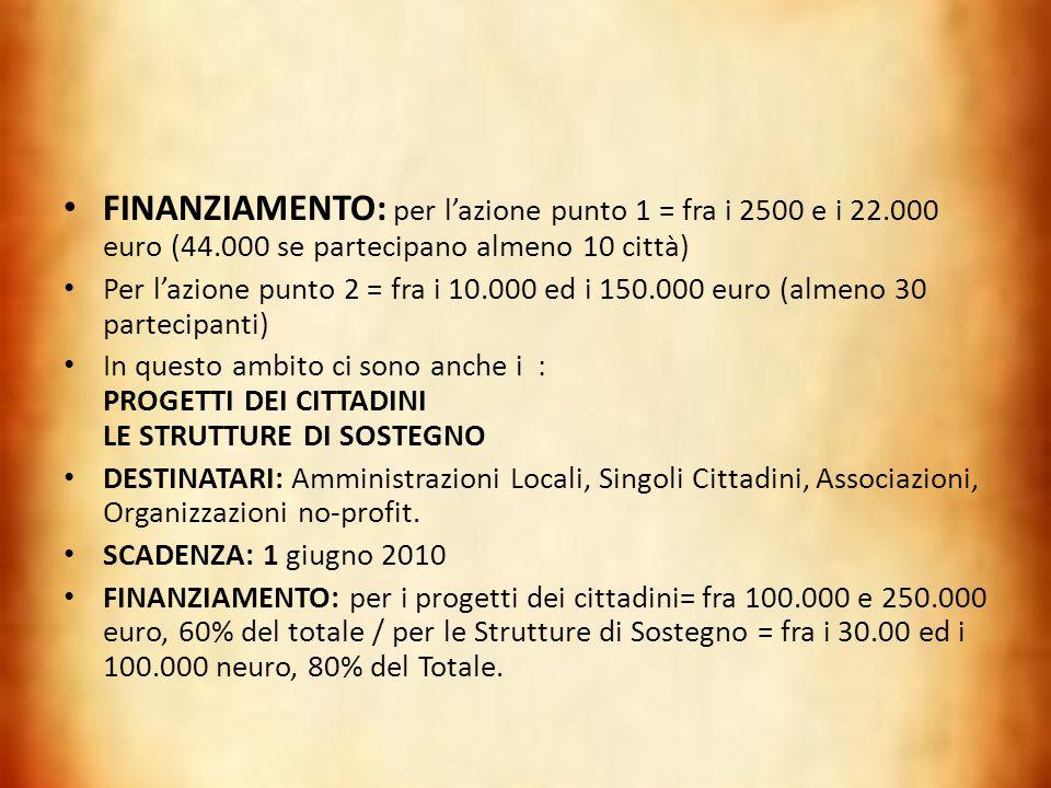 FINANZIAMENTO: per lazione punto 1 = fra i 2500 e i 22.000 euro (44.000 se partecipano almeno 10 città) Per lazione punto 2 = fra i 10.000 ed i 150.00