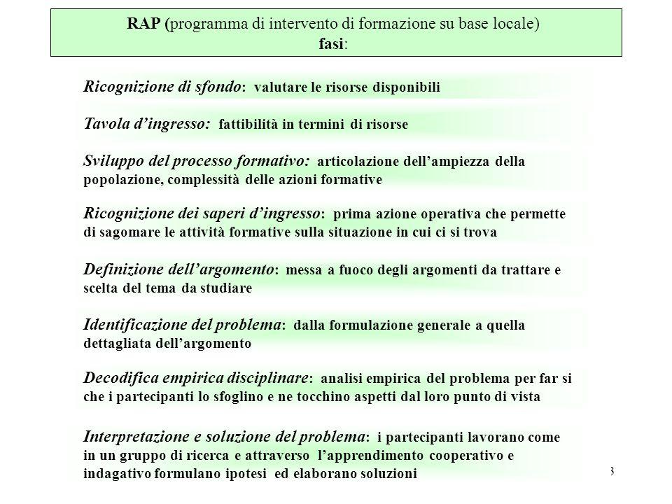 3 RAP (programma di intervento di formazione su base locale) fasi: Ricognizione di sfondo : valutare le risorse disponibili Tavola dingresso: fattibil