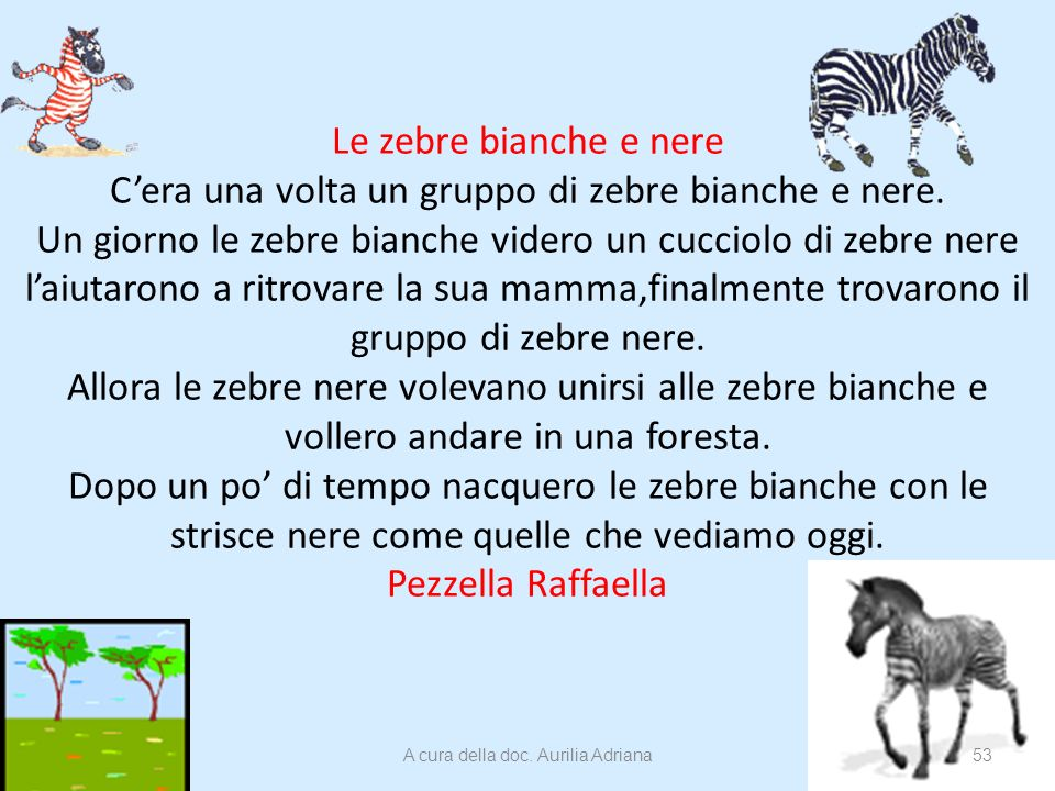 Le zebre bianche e nere Cera una volta un gruppo di zebre bianche e nere. Un giorno le zebre bianche videro un cucciolo di zebre nere laiutarono a rit