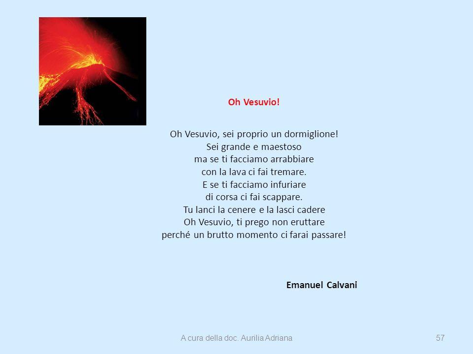 Oh Vesuvio! Oh Vesuvio, sei proprio un dormiglione! Sei grande e maestoso ma se ti facciamo arrabbiare con la lava ci fai tremare. E se ti facciamo in