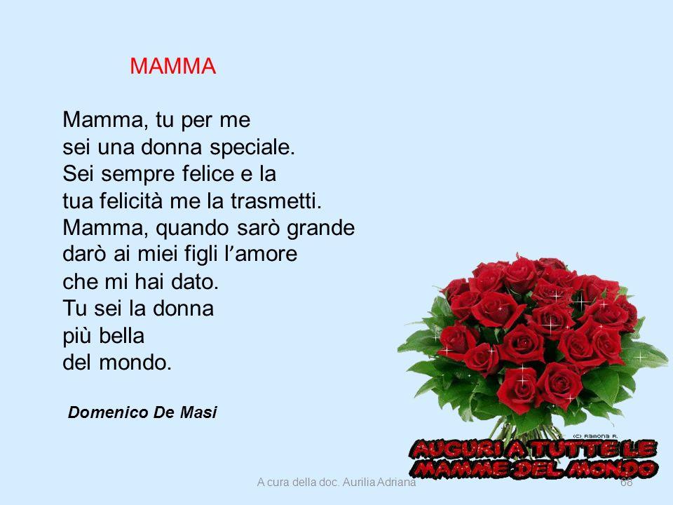 MAMMA Mamma, tu per me sei una donna speciale. Sei sempre felice e la tua felicità me la trasmetti. Mamma, quando sarò grande darò ai miei figli l amo