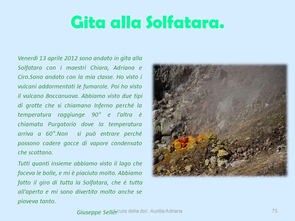 Gita alla Solfatara. Venerdì 13 aprile 2012 sono andato in gita alla Solfatara con i maestri Chiara, Adriana e Ciro.Sono andato con la mia classe. Ho