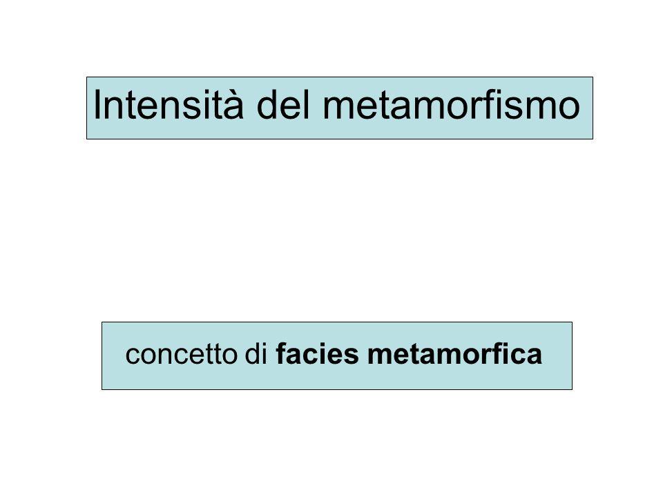 Intensità del metamorfismo concetto di facies metamorfica