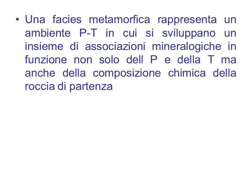 Una facies metamorfica rappresenta un ambiente P-T in cui si sviluppano un insieme di associazioni mineralogiche in funzione non solo dell P e della T