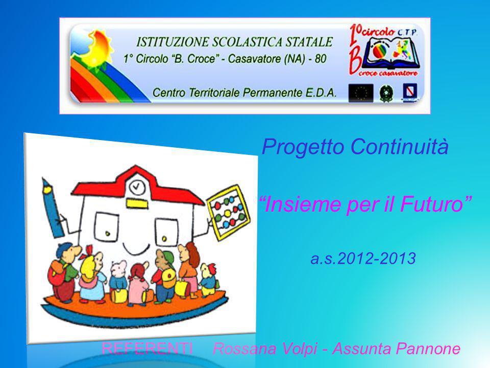 REFERENTI Rossana Volpi - Assunta Pannone Progetto Continuità a.s.2012-2013 Insieme per il Futuro