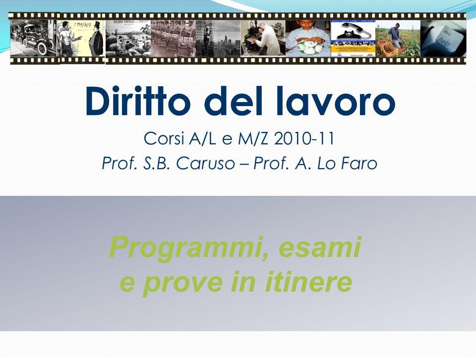 Diritto del lavoro Corsi A/L e M/Z 2010-11 Prof. S.B. Caruso – Prof. A. Lo Faro Programmi, esami e prove in itinere