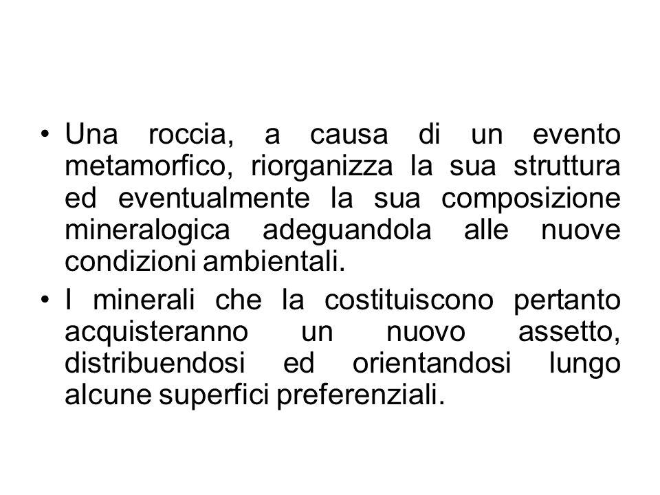 Una roccia, a causa di un evento metamorfico, riorganizza la sua struttura ed eventualmente la sua composizione mineralogica adeguandola alle nuove co