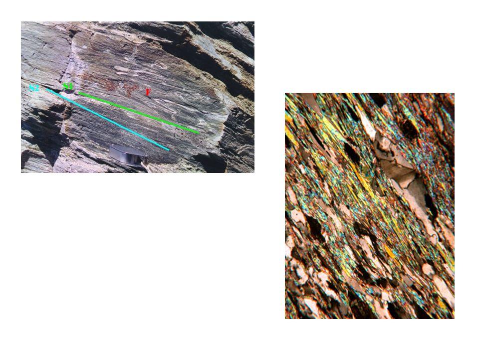 Anisotropie planari Le anisotropie planari più tipiche sono: - la scistosità, tipica degli scisti, definita dalla isorientazione delle miche; -la struttura a bande, tipica degli gneiss, definita dalla distribuzione di minerali, organizzati in livelli di spessore variabile dal millimetro al centimetro.