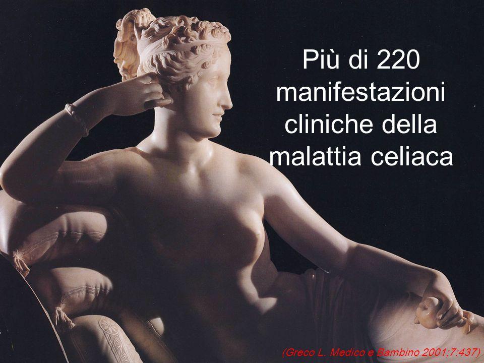 Più di 220 manifestazioni cliniche della malattia celiaca (Greco L. Medico e Bambino 2001;7:437)