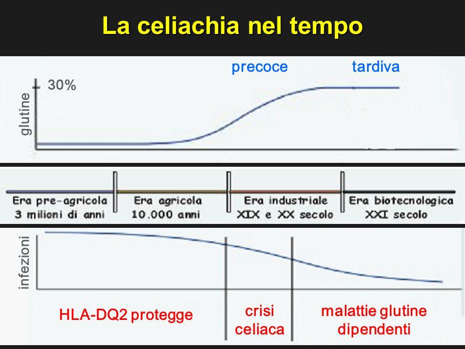 Ambiente Geni La celiachia nel tempo infezioni glutine 30% HLA-DQ2 protegge crisi celiaca precoce malattie glutine dipendenti tardiva