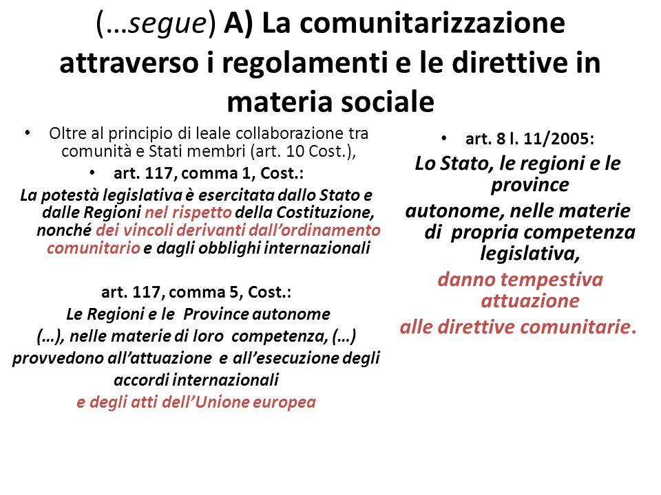 (…segue) A) La comunitarizzazione attraverso i regolamenti e le direttive in materia sociale Oltre al principio di leale collaborazione tra comunità e Stati membri (art.
