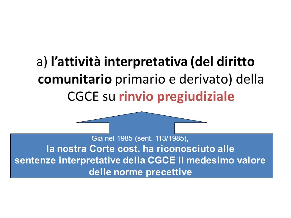 a) lattività interpretativa (del diritto comunitario primario e derivato) della CGCE su rinvio pregiudiziale Già nel 1985 (sent.