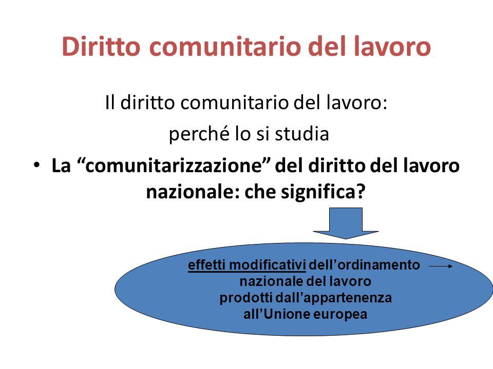 Diritto comunitario del lavoro Il diritto comunitario del lavoro: perché lo si studia La comunitarizzazione del diritto del lavoro nazionale: che significa.