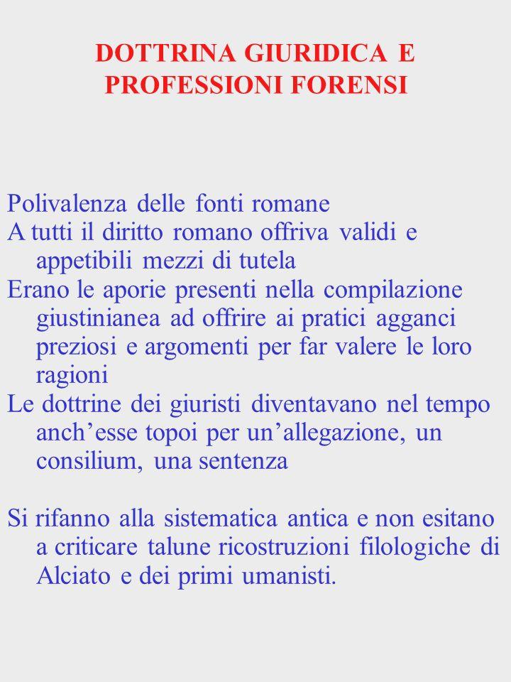 DOTTRINA GIURIDICA E PROFESSIONI FORENSI Polivalenza delle fonti romane A tutti il diritto romano offriva validi e appetibili mezzi di tutela Erano le