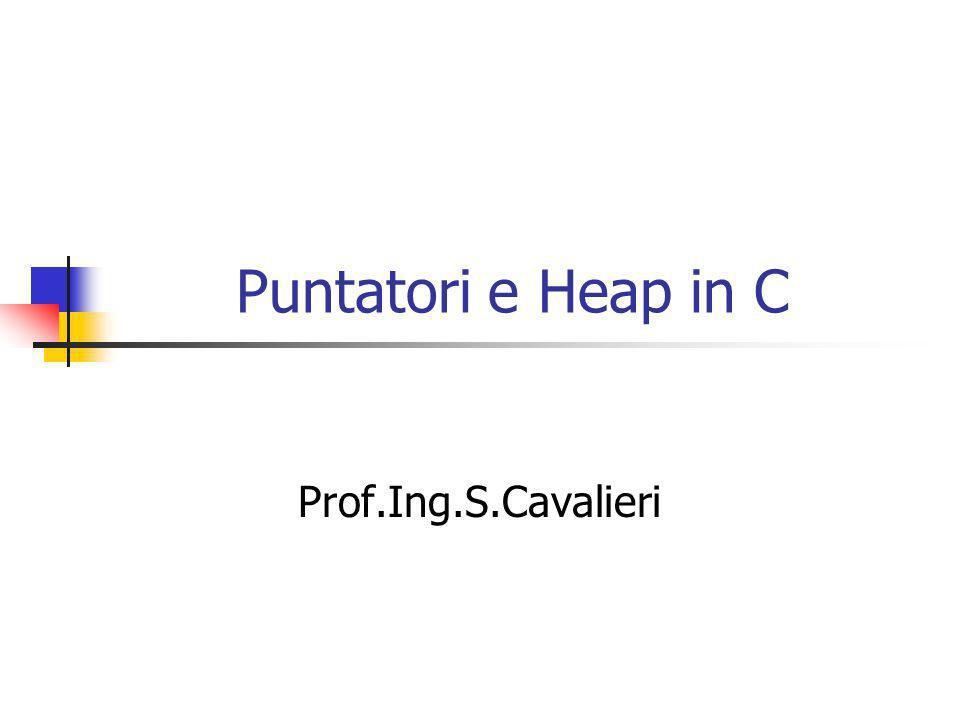 Tipi Puntatori #include int nNumber; int *pPointer; main() { nNumber = 15; pPointer = &nNumber; printf( nNumber is equal to : %d \n ,nNumber); *pPointer = 25; printf( nNumber is equal to: %d \n ,nNumber); } NULL